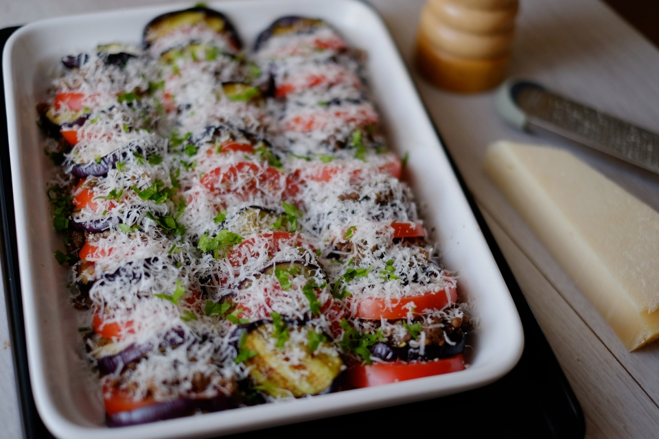 Baked Aubergine with tomato and spiced meat
