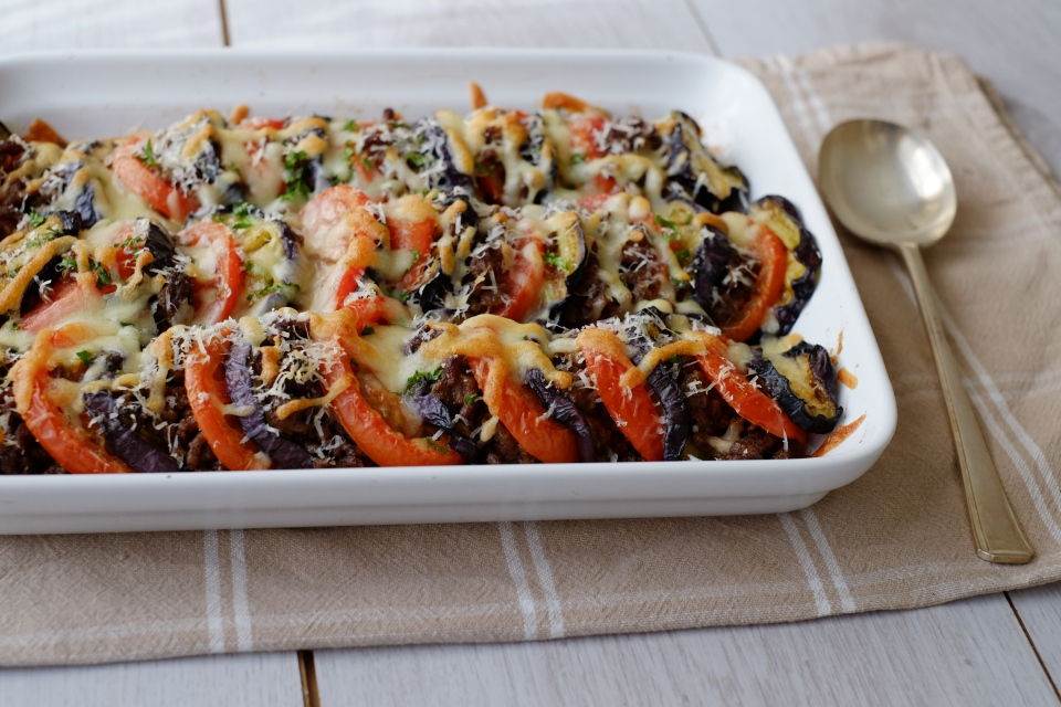 Baked Aubergine with Tomatoes and Spiced Meat