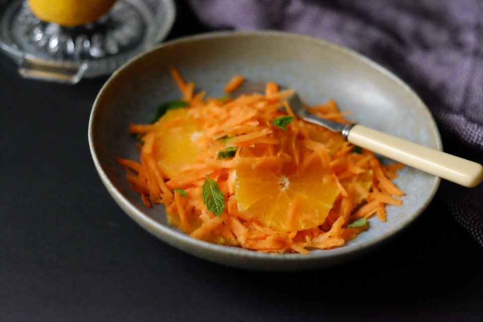 Carrot and orange salad with mint and cinnamon