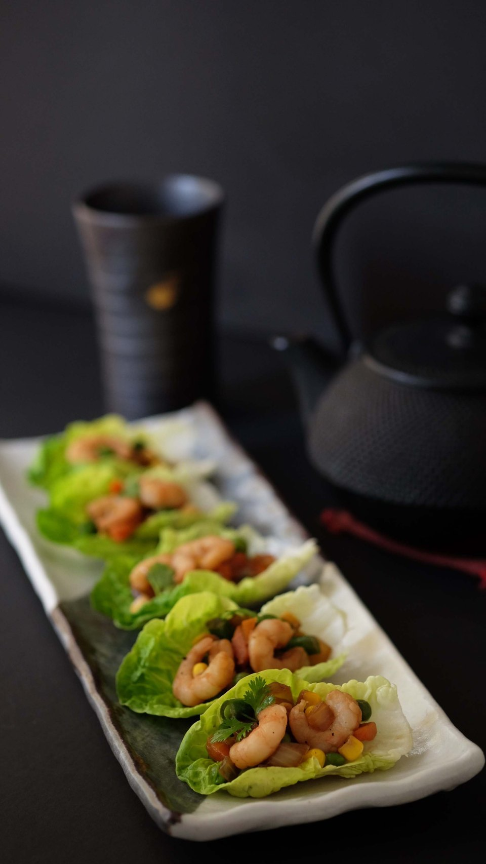 Asian style prawns in Lettuce cups