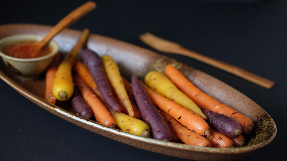 Roasted carrots with chilli, cumin and garlic