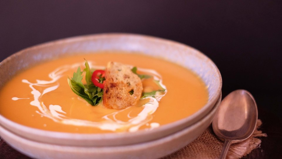 Sweet potato soup with coconut milk and spices