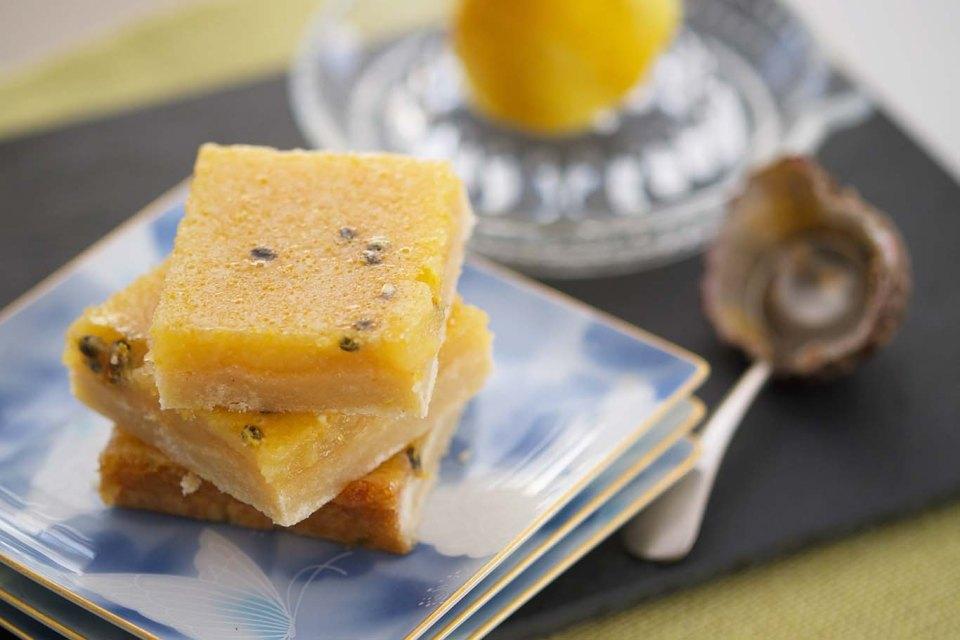 Lemon passionfruit bars